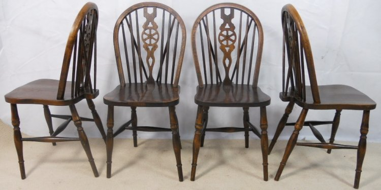Set Of Four Antique Style - Antique Pine Kitchen Chairs Reclaimed Pine Furniture
