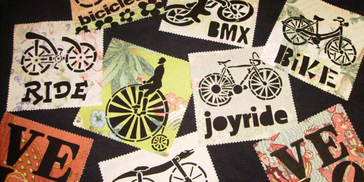 Bicycle Stencil Fabric Patches