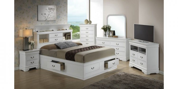 Bookcase Storage Bed White