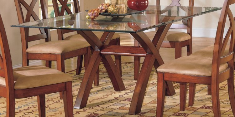 Crossed dining table legs