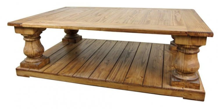 Large Rustic Pine Coffee Table