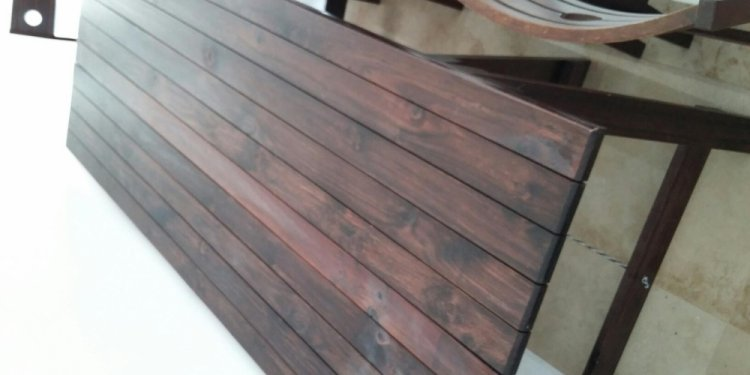 Stained Pine Trestle Table And