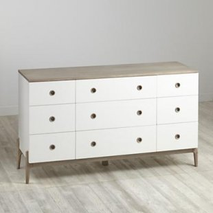 Wrightwood Grey Stain and White 9-Drawer Dresser